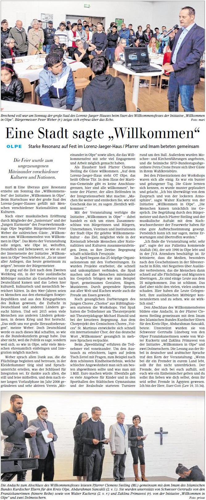 Willkommensfest Siegener Zeitung